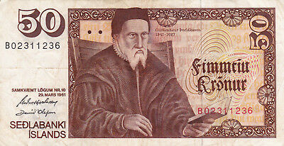 50 Kronur Very Fine Banknote From Iceland 1961!pick-44