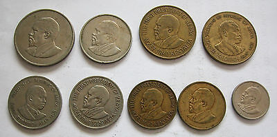 Kenya - Lot Of 9 Coins-Km # 1,4,5,6,10,11,14,18 And 20