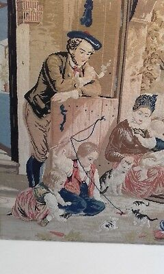 Antique Scottish Belin Woolwork / Needlework Embroidery Picture Panel / Cats