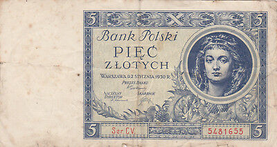 5 Zlotych Fine Banknote From Poland 1930!pick-72