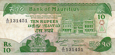 10 Rupees Fine Banknote From Mauritius 1985!pick-35