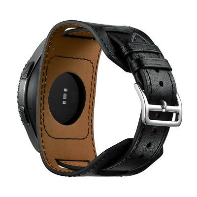 22mm Leather Watch Wrist Band Cuff Strap Bracelet For Samsung Gear S3 Black