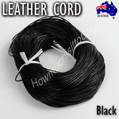1mm 1.5mm 2mm 3mm 4mm Genuine Round Leather Cord Cowhide Hide String Threa BLACK