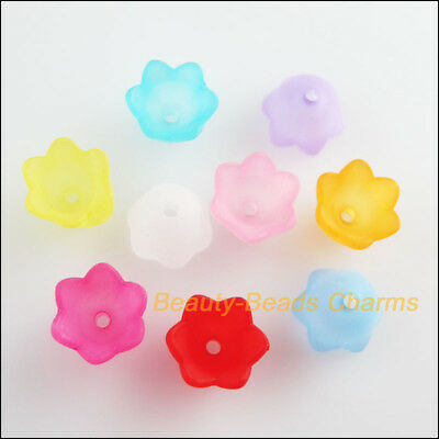 50Pcs Mixed Acrylic Plastic Horn Flower Spacer Beads End Caps Charms 7x9mm