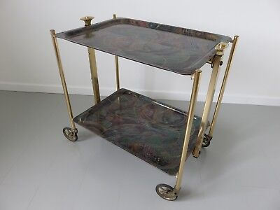 "Table Roulante Pliante Trolley Bar Marque ""  Textable ""  Annees 60 70 Vintage"