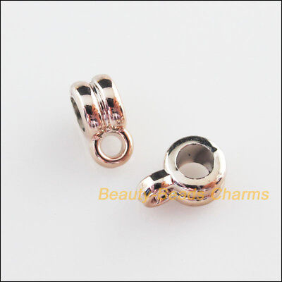 60Pcs Champagne Gold Acrylic Round Charms Bail Beads Fit Bracelets 6.5x9.5mm