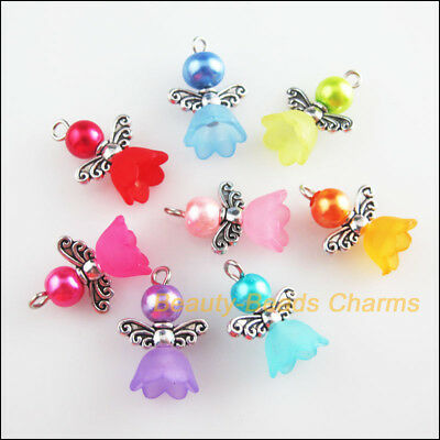 10Pcs Mixed Glass Dancing Angel Wings Flowers Charms Pendants 18x28mm