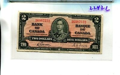 1937 $2 Canada Currency Note Vg 2242L