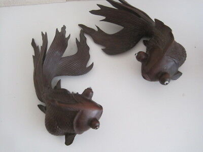 TWO Vintage Chinese Oriental Carved Wooden Rosewood Hardwood Japanese Koi Carp