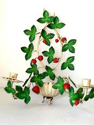 "15"" Vtg Shabby Chic Italian Metal Tole Strawberry Wall Sconce 2 Candle Holder"