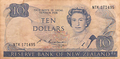 10 DOLLARS VG BANKNOTE FROM NEW ZEALAND 1989!PICK-172d