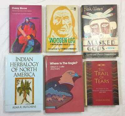 SIX Indian Books Crazy Horse Wooden Leg Herbology Navaho Trail Tears NEW+USED