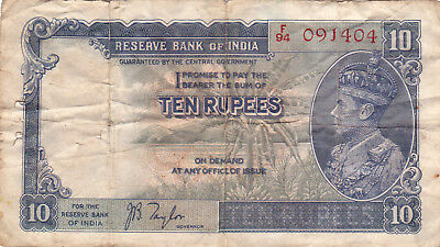 10 Rupees Vg-Fine Banknote From British India 1937!pick-19!rare