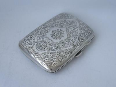 Pretty Hand-Engraved Solid Sterling Silver Cigarette Case 1907/ L 8.7 cm/ 81 g