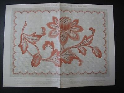Original Late Victorian Embroidery Pattern 1896