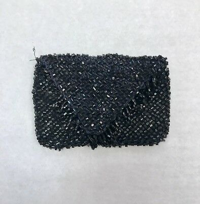Antique Vintage Victorian Black Jet Bead Hand Beaded Change Purse with Fringe