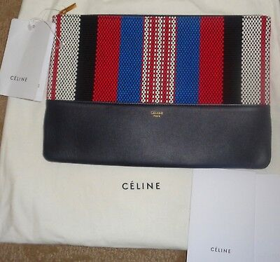 8caf77bd24 NWT NEW  530 CELINE Logo Solo Textile Leather Pouch Clutch BAG Red Wht Blue
