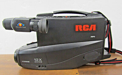 Vintage RCA DSP3 VHS Camcorder w/12 x Zoom Charger & Power Cord Inc.  WORKS!!