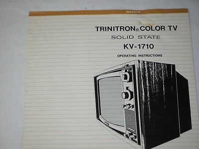 Sony TRINITRON COLOR TV Model KV-1710 Operating Manual 1960-70's