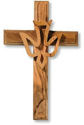 Cross with Overlay Holy Spirit Trinity Dove Hanging Wall Decoration, 4.75 Inch