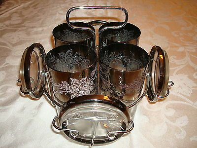Vintage Queens Lusterware Silver Ombre Fade Filigree Barware Glasses & Caddy