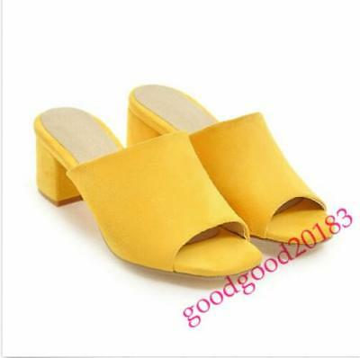a1a02a85756 2018 LADIES MID Block Heel Shoes Sandals Mules Pull On Open Toe Suede Casual  US9 -  0.01
