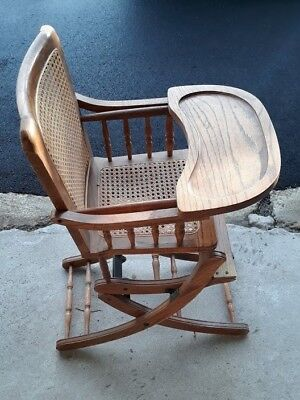 Vintage Wooden Oak  Child High Chair / Rocking Chair  with Wicker Back and Seat