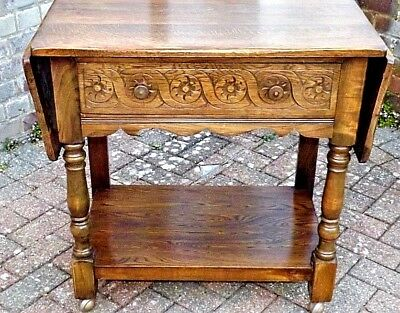 Vintage  Oak Expanding Pembroke Trolley On Castors, Carved Panel Front