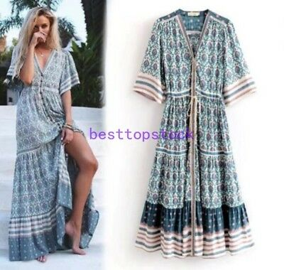 Retro hippie Mexican women V-neck maxi holiday Dress Boho beachsummer sz hot new