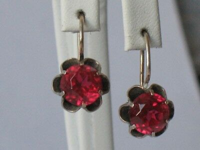 Antique Russian Sterling 875 Silver Ag Earrings Vintage Soviet Stone Red Big USS