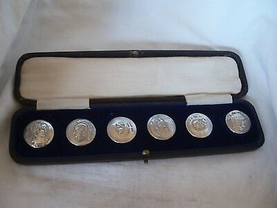 6 x BUTTONS IN BOX STERLING SILVER BIRMINGHAM 1899/1900