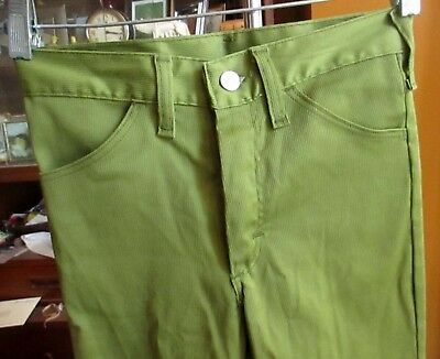 24x26 sz 12 true Vtg 70s Boys NEW AVOCADO GREEN RIBBED BOOTCUT HIPPIE MOD JEANS