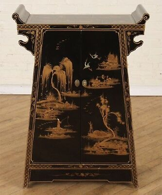French Victorian Asian style petite 2 Door Black Lacquered Chinoiserie Cabinet