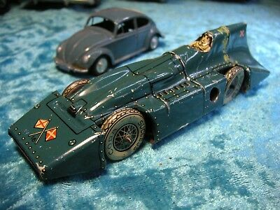 Distler Blue Bird Record Rennwagen Uhrwerk Vorkrieg Germany Tin Racer Tole Latta
