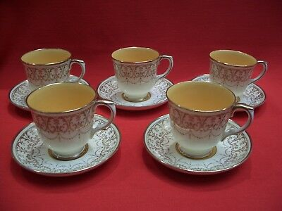 5 Crown Staffordshire ~ Cream Gold / Yellow Inner ~A13817   Coffee Cup & Saucer