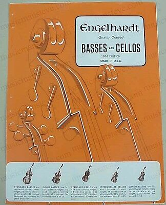 rare original 1974 ENGELHARDT BASSES & CELLOS jobber catalog pages + price list