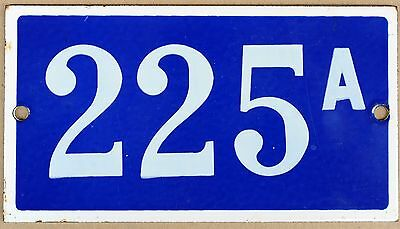 Old blue French house number 225 A door gate plate plaque enamel metal sign VGC