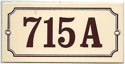 Old French house number 715 A door gate plate plaque enamel steel metal sign