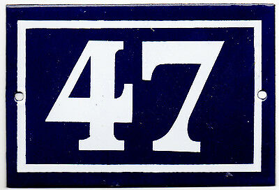 Old blue French house number 47 door gate plate plaque enamel steel metal sign