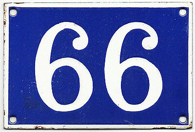 Old blue French house number 66 or 99 door gate plate plaque enamel metal sign