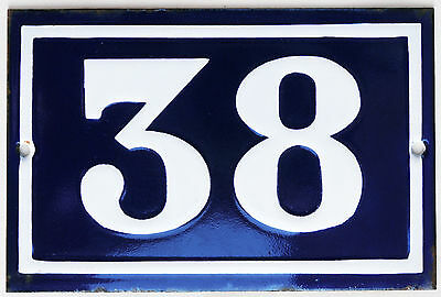 Old blue French house number 38 door gate plate plaque enamel steel metal sign