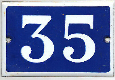 Old blue French house number 35 door gate plate plaque enamel steel metal sign