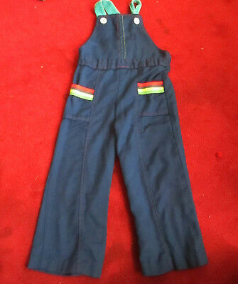 Sz 4 4t  true Vtg 70s Boys/Girls  BOOTCUT FLARE RAINBOW HIPPIE OVERALLS JEANS