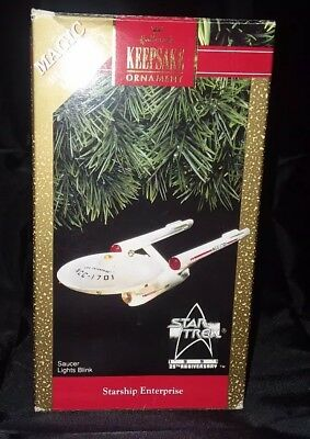 STARSHIP ENTERPRISE Hallmark 1991 STAR TREK Ornament 25th Anniversary