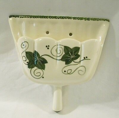 "Vintage Porcelain ""Dust Pan"" Kitchen Wall Pocket Vase Sponge Holder Ivy Design"