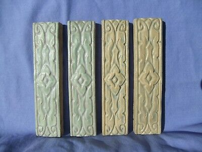 4 Batchelder Arts & Crafts Los Angeles Unused Long & Narrow Fireplace Tiles