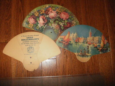 Three 1928 Vintage Tri-Fold Hand Held Fans - Hollenbach's Sausage In Chicago