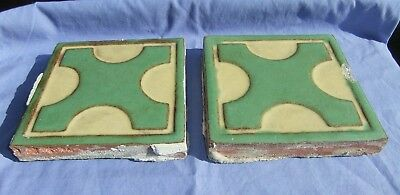 2 Batchelder Arts & Crafts Los Angeles Used Green Cross w/ Cream Floor Tiles