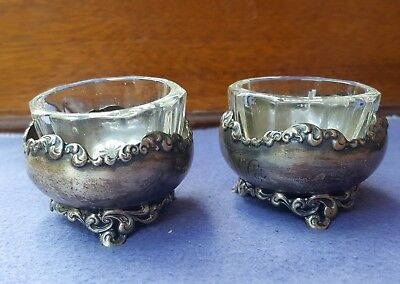 Old Antique Vtg Footed Sterling Silver Open Salt Cellars Glass Inserts Pair Set