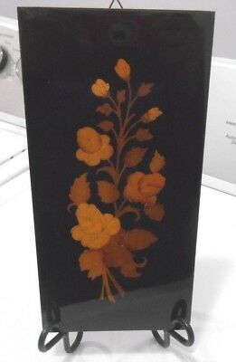 """Marquetry Wall Panel Plaque Pair. 5 1/8 X 10 1/4""""s Flowers"""